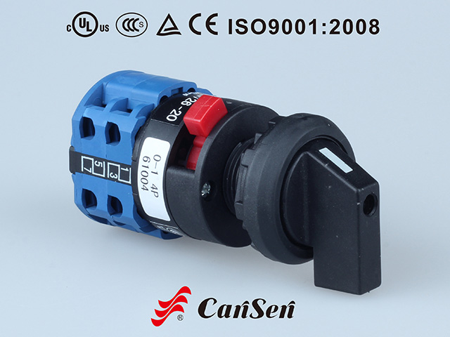 ROTARY CAM SWITCH, Main Switch LW26-20 0-1 4P Single Hole Mount without panel